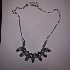 Jewelry: Silver/Grey Statement Necklace